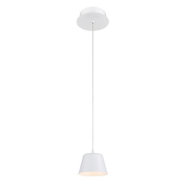 "Eurofase Bowes 1-Light LED Pendant, Matte White Finish - 28237-020 - 4"" high x 4.75"" in diameter"