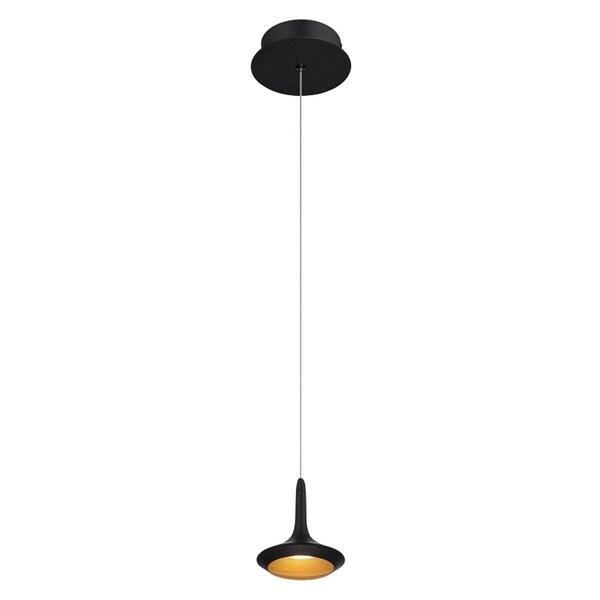 """Eurofase Knoll 1-Light LED Pendant, Matte Black Finish - 28238-010 - 5"""" high x 4.75"""" in diameter"""