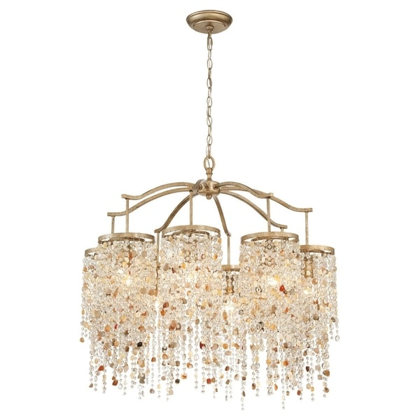 "Eurofase Savannah 8-Light Chandelier, Antique Bronze Finish - 28317-013 - 31.25"" high x 33"" in diameter"