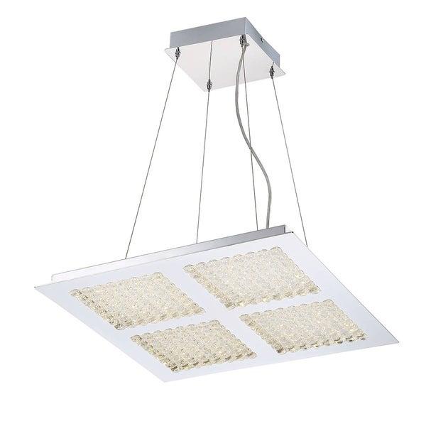 "Eurofase Denso 4-Light Square LED Chandelier, Chrome Finish - 29117-017 - 3.5"" high x 21.75"" long x 21.75"" wide"