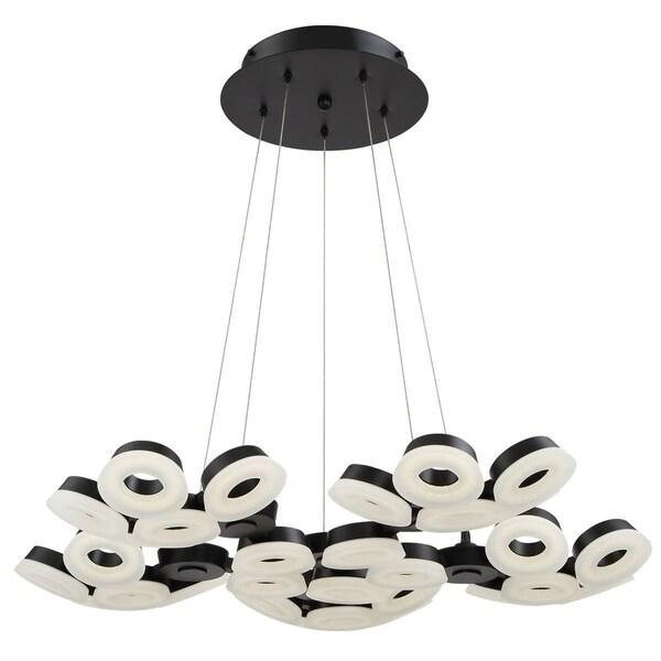 """Eurofase Glendale 30-Light LED Chandelier, Black Finish - 29094-028 - 5.5"""" high x 35.25"""" in diameter"""