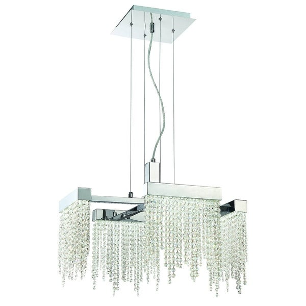 "Eurofase Rossi 4-Light Small LED Chandelier, Chrome Finish - 30006-010 - 16.5"" high x 22.5"" long x 22.5"" wide"