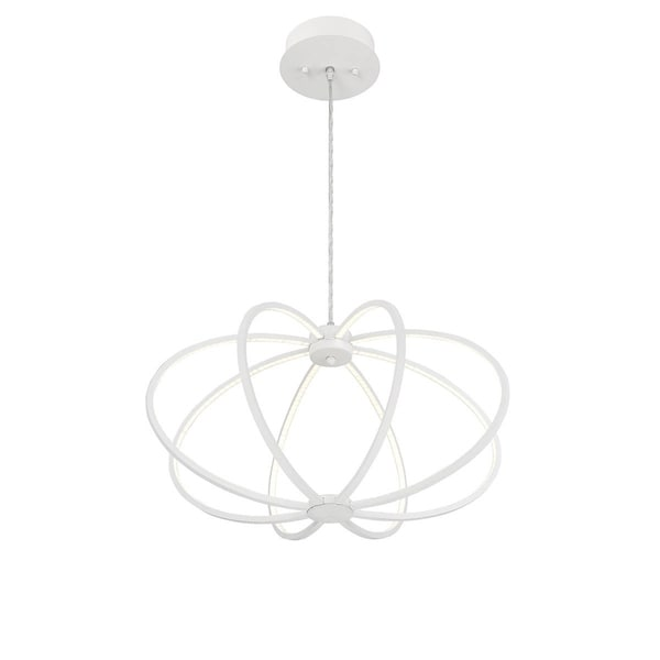 Eurofase Leggero Minimalist Curved Rings 8 LED Light Pendant, White Aluminum Finish - 30035-027