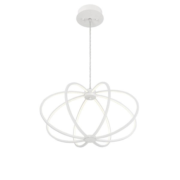 Eurofase Leggero Minimalist Curved Rings 8 LED Light Pendant, White Aluminum Finish, 22.5 Inches in Diameter - 30035-027