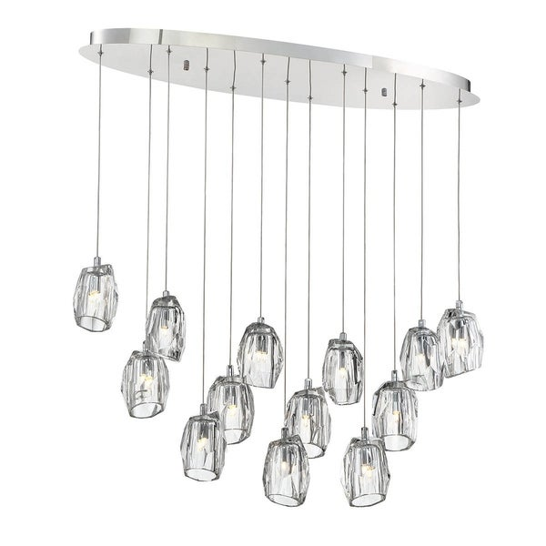 Eurofase Diffi 13-Light Oval Chandelier, Chrome Finish - 29090-013