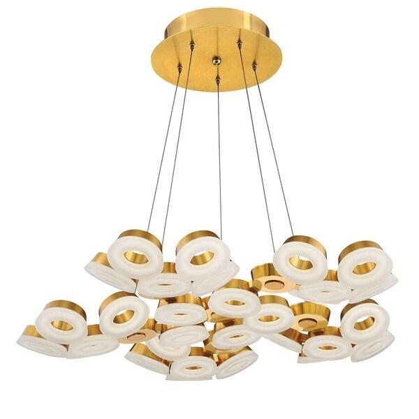 """Eurofase Glendale 30-Light LED Chandelier, Gold Finish - 29094-035 - 5.5"""" high x 35.25"""" in diameter"""