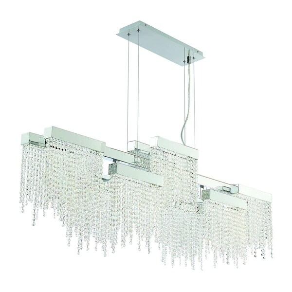 "Eurofase Rossi 10-Light Linear LED Chandelier, Chrome Finish - 30005-013 - 21.25"" high x 51.25"" long x 9"" wide"