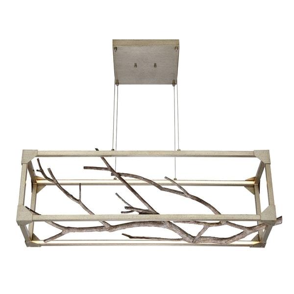 Eurofase Aldo Natural Branch LED Linear Chandelier, Antiqued Silver Frame, 40.5 Inches Long - 30078-017