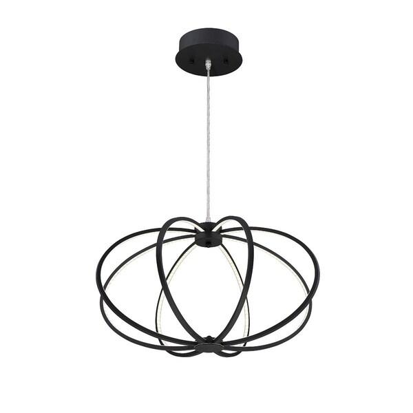 Eurofase Leggero Minimalist Curved Rings 8 LED Light Pendant, Black Aluminum Finish - 30035-034