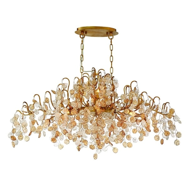 "Eurofase Campobasso 10-Light Oval Chandelier, Gold Finish - 29061-013 - 20"" high x 45"" long x 22"" wide"