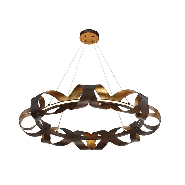 Eurofase Banderia Draped Ribbons LED Ring Chandelier, Bronze Finish, 33 Inches in Diameter - 30080-010