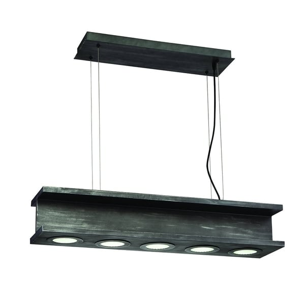 Eurofase Fascio 5-Light Linear LED Bar Pendant, Rustic Black Finish - 30034-013