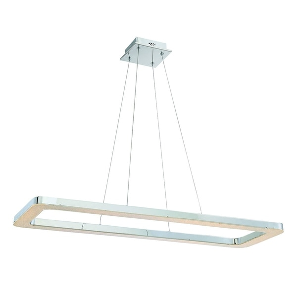 Eurofase Zatina Rectangular LED Light Pendant, Chrome Finish Filled with a Bed of Crystals - 30062-016
