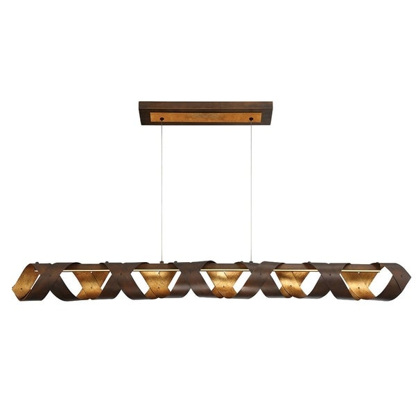 "Eurofase Banderia Draped Ribbons LED Linear Chandelier, Bronze Finish - 30083-011 - 5"" high x 50"" long x 4.75"" wide"