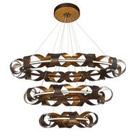 Eurofase Banderia Draped Ribbons LED Three-Tier Ring Chandelier, Bronze Finish, 43.75 Inches in Diameter - 30082-014