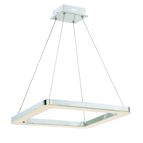 Eurofase Zatina Square LED Light Pendant, Chrome Finish Filled with a Bed of Crystals - 30061-019