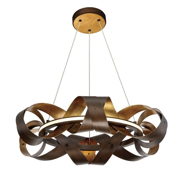 Eurofase Banderia Draped Ribbons LED Ring Chandelier, Bronze Finish, 22.5 Inches in Diameter - 30081-017