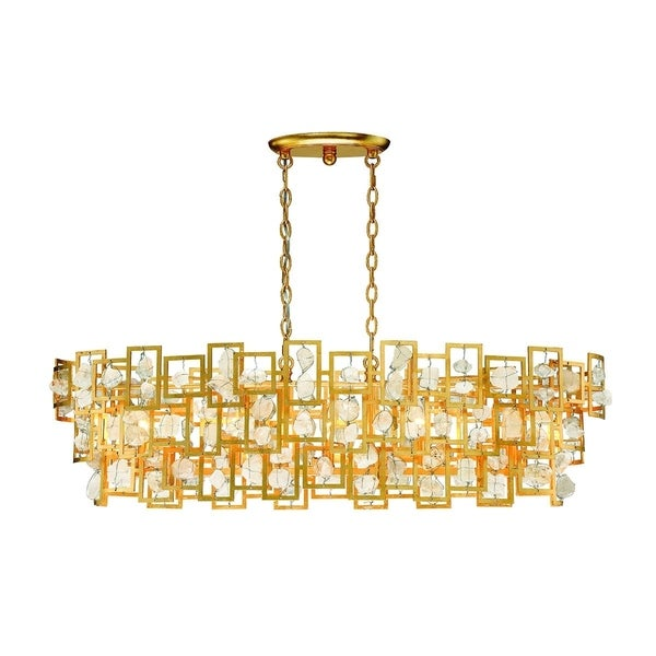 "Eurofase Elrose 5-Light Chandelier, Gold Finish - 30070-011 - 11"" high x 41.5"" long x 17.25"" wide"