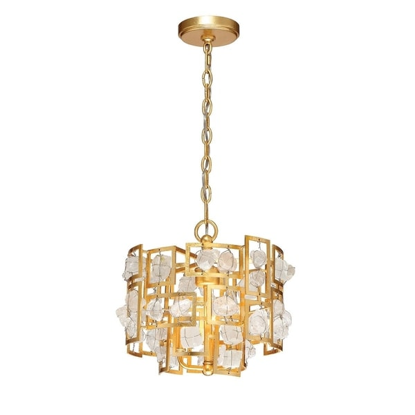"Eurofase Elrose 3-Light Pendant, Gold Finish - 30072-015 - 12.5"" high x 13.25"" in diameter"
