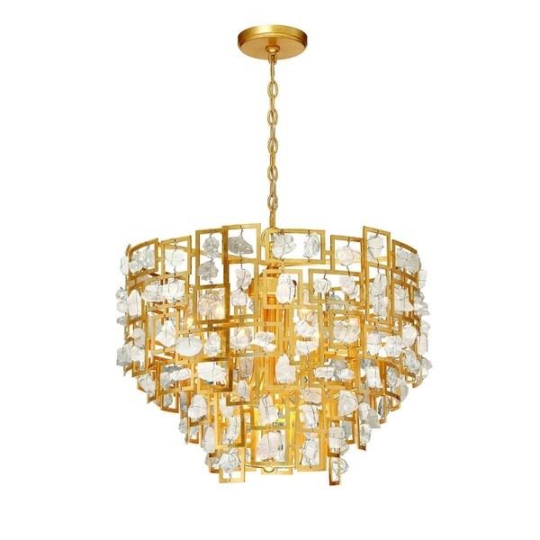 """Eurofase Elrose 9-Light Chandelier, Gold Finish - 30069-015 - 21.25"""" high x 25.25"""" in diameter"""