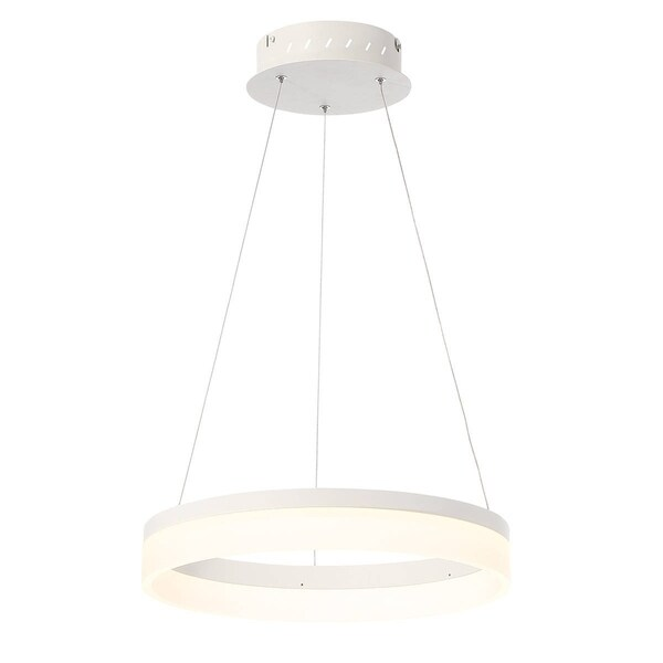 Eurofase Minuta Frosted LED Halo Chandelier, Sand White Aluminum Finish, 17.25 Inches in Diameter - 31776-011
