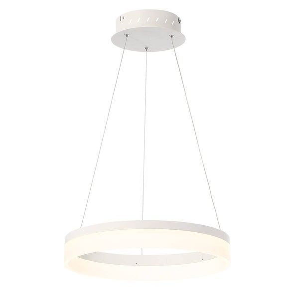 """Eurofase Minuta Frosted LED Small Halo Chandelier, Sand White Aluminum Finish - 31776-011 - 2.75"""" high x 17.25"""" in diameter"""