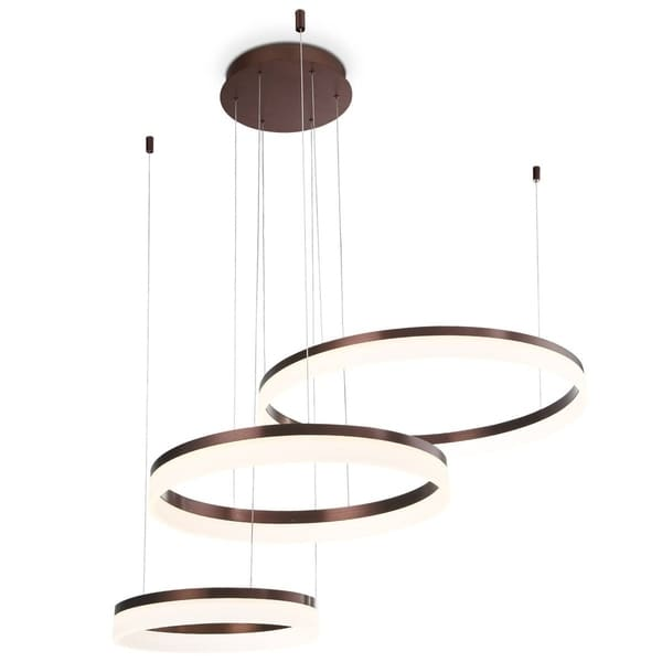 Eurofase Minuta Frosted LED Three-Tier Halo Chandelier, Bronze Aluminum Finish, 47.75 Inches in Diameter - 31779-029