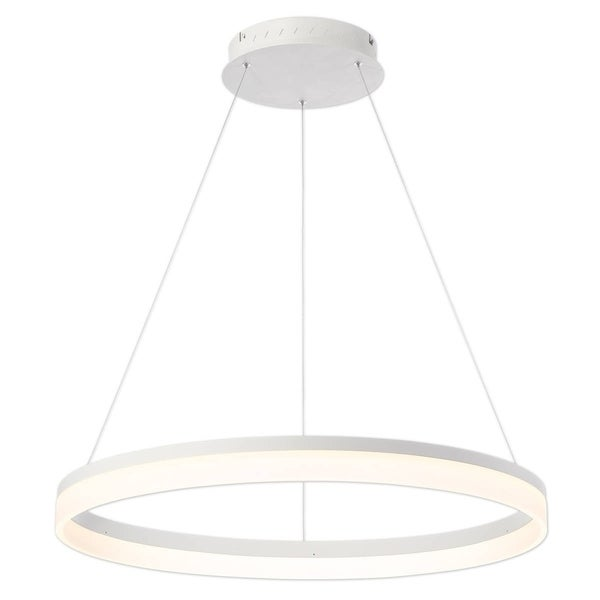 Eurofase Minuta Frosted LED Large Halo Chandelier, Sand White Aluminum Finish - 31778-015