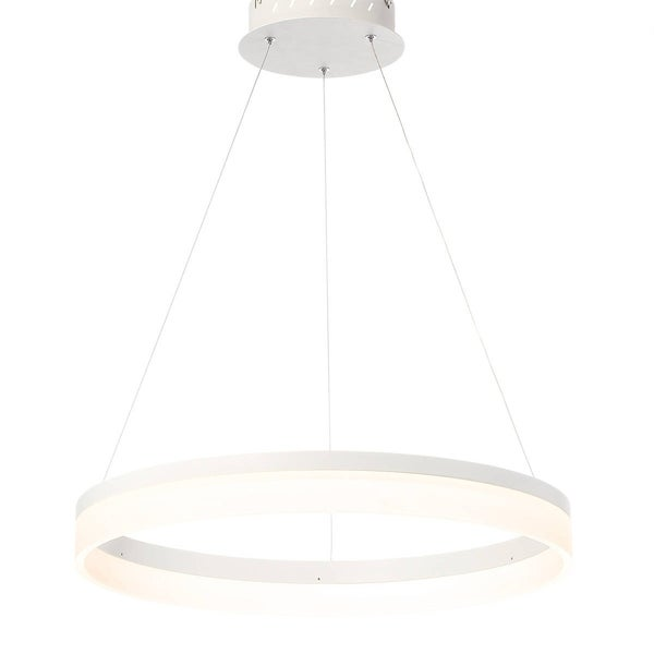 Eurofase Minuta Frosted LED Halo Chandelier, Sand White Aluminum Finish, 23.25 Inches in Diameter - 31777-018