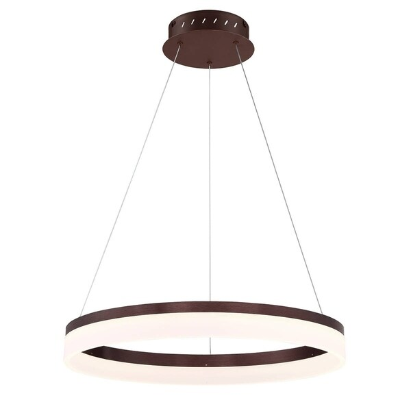 Eurofase Minuta Frosted LED Halo Chandelier, Bronze Aluminum Finish, 23.25 Inches in Diameter - 31777-025