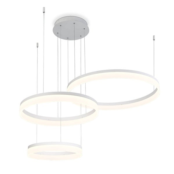 Eurofase Minuta Frosted LED Three-Tier Halo Chandelier, Sand White Aluminum Finish - 31779-012