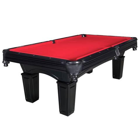 Cobra 8-ft Slate Billiard Pool Table w/ Red Felt - Black