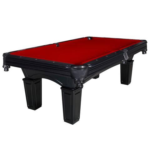 Cobra 8-ft Slate Billiard Pool Table w/ Burgundy Felt - Black