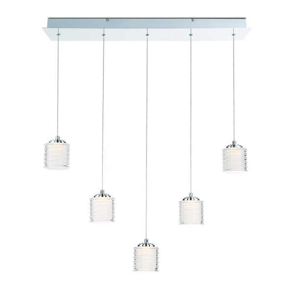 Eurofase Ancona Opal Ribbed 5 LED Linear Chandelier, Chrome Finish - 31787-017