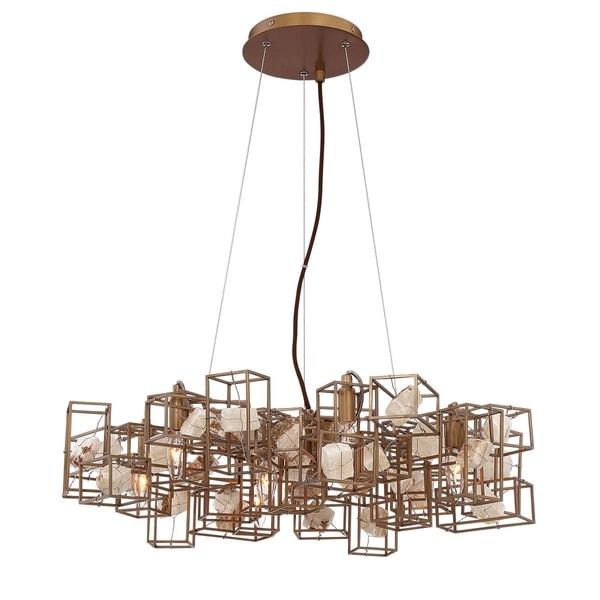 Eurofase Patton Natural Stones Chandelier, Bronze Finish Framing, 7 B10 Light Bulbs, 28.25 Inches in Diameter - 31836-012