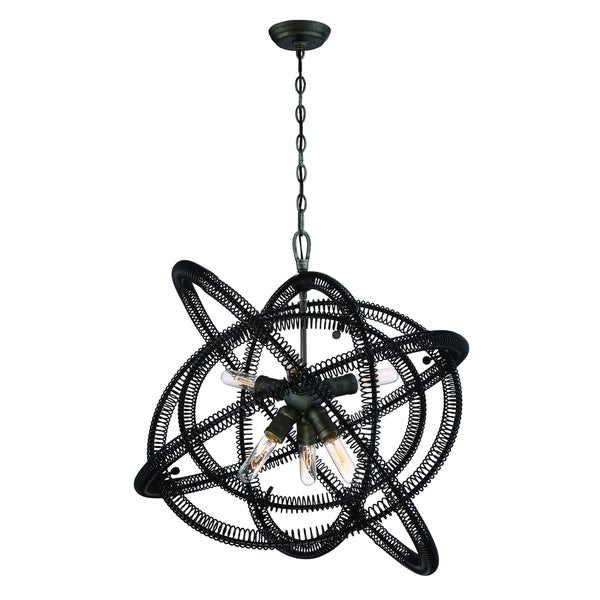 Eurofase Orbita Vintage Bronze Coiled Rings Chandelier, 6 Edison Light Bulbs - 31388-016