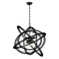 Eurofase Orbita Vintage Bronze Coiled Rings Chandelier, 6 Edison Light Bulbs, 24.75 Inches High - 31388-016