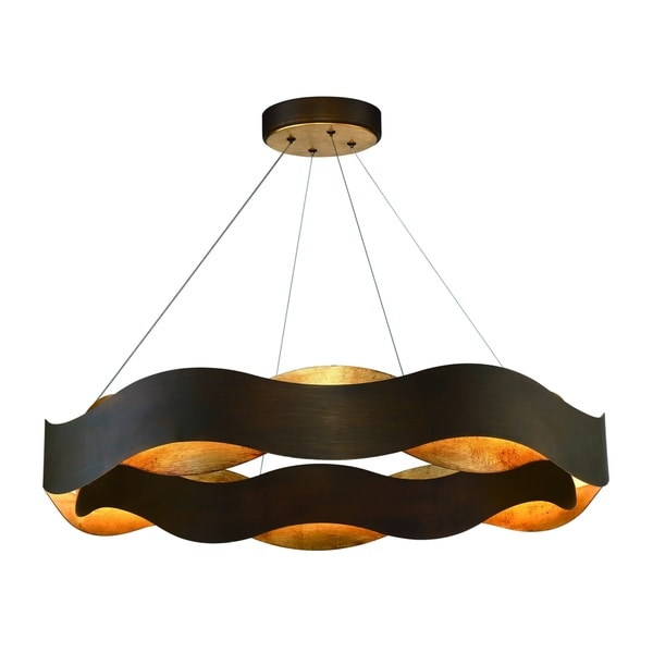 Eurofase Vaughan Metal Waves LED Chandelier, Bronze finish with Gold Leaf Details, 33.5 Inches in Diameter - 31384-018