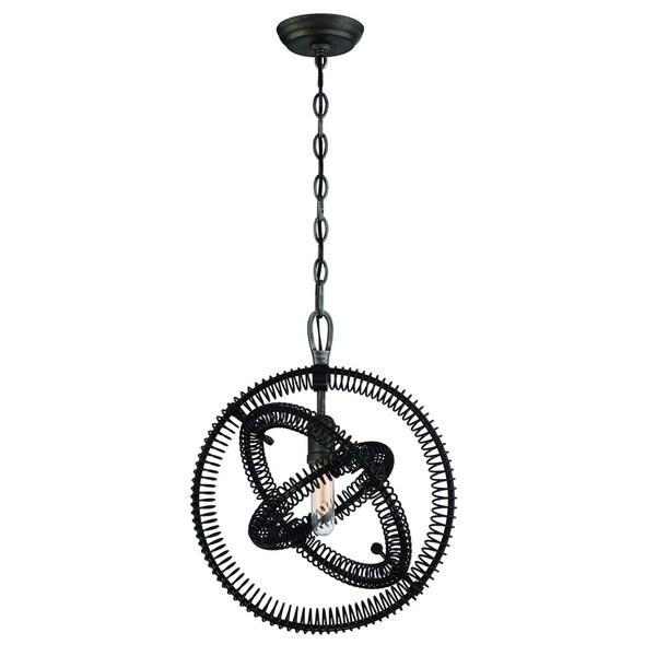 Eurofase Orbita Vintage Bronze Coiled Rings Light Pendant, 1 Edison Light Bulb - 31386-012