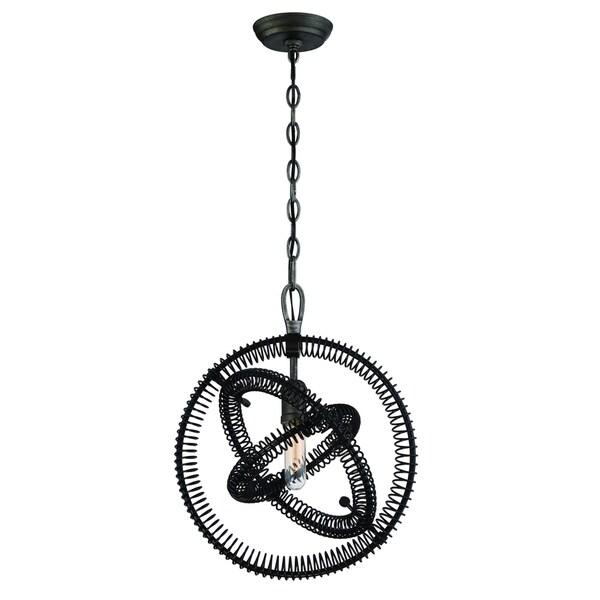"""Eurofase Orbita Vintage Bronze Coiled Rings Light Pendant - 31386-012 - 18.25"""" high x 15"""" in diameter"""