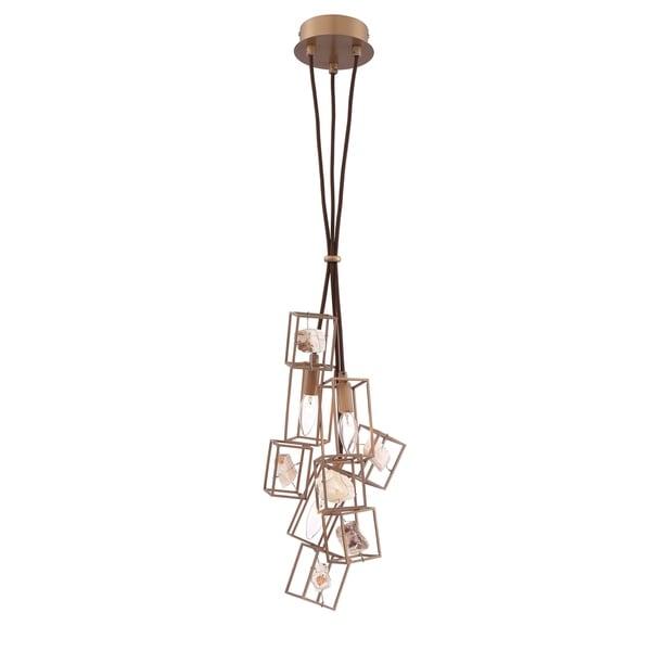 Eurofase Patton Natural Stones Chandelier, Bronze Finish Framing, 3 B10 Light Bulbs, 8 Inches in Diameter - 31834-018