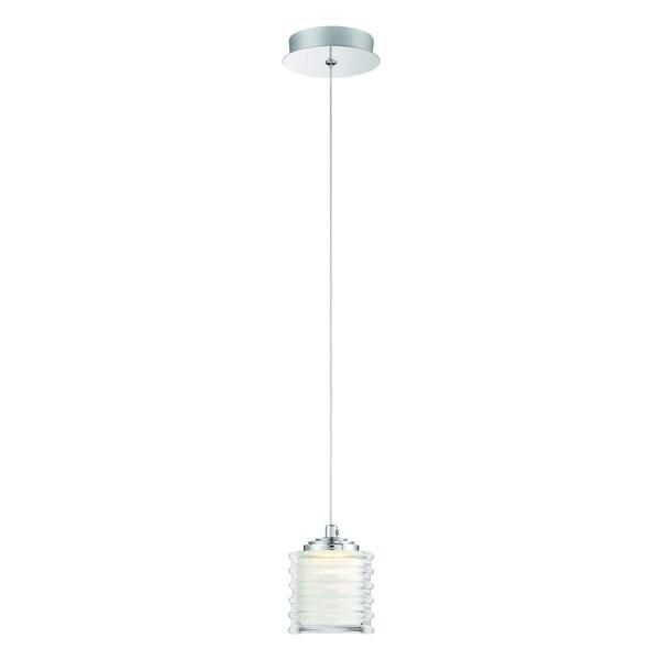 Eurofase Ancona Opal Ribbed LED Light Pendant, Chrome Finish, 5.5 Inches in Diameter - 31786-010