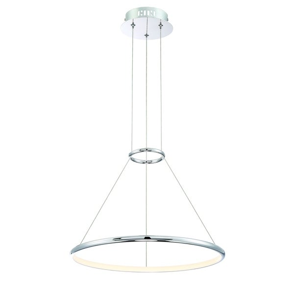 Eurofase Valley Contemporary LED Ring Small Light Pendant, Carved Polished Chrome Finish - 31859-011
