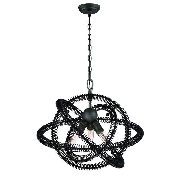 Eurofase Orbita Vintage Bronze Coiled Rings Chandelier, 3 Edison Light Bulbs - 31387-019