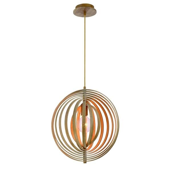 "Eurofase Abruzzo Sleek Retractable Wood Small Light Pendant - 31874-014 - 18"" high x 17"" in diameter"
