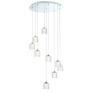 Eurofase Ancona Opal Ribbed 9 LED Chandelier, Chrome Finish - 31788-014