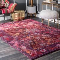 nuLoom Purple Handmade Moroccan Floral Area Rug (5' x 8') - 5' x 8'