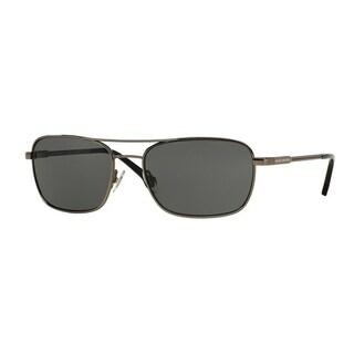 Brooks Brothers Mens's BB4016 150787 56 Gunmetal Metal Rectangle Sunglasses - Grey