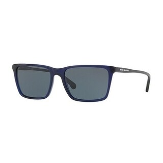 Brooks Brothers Mens's BB5034S 613487 55 Navy Translucent Plastic Rectangle Sunglasses - Blue