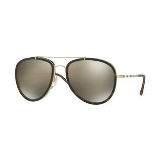 Burberry Mens's BE3090Q 10525A 58 Brushed Gold/Mt Dark Havana Others Aviator Sunglasses - Brown